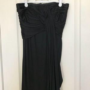 Mini black strapless dress